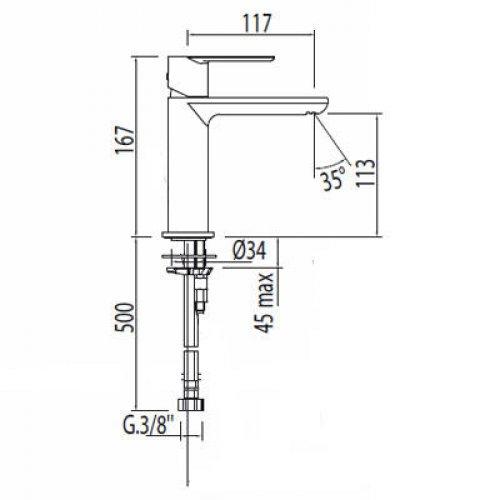 Umyvadlová baterie stojánková TRES LOFT bez automatického odtoku,páka, perlátor, chrom preview