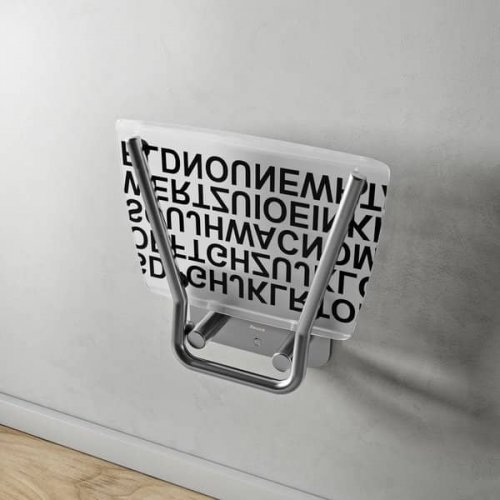 Sprchové sedátko Ravak OVO B Decor II Text, nerez/průsvitně bílá preview