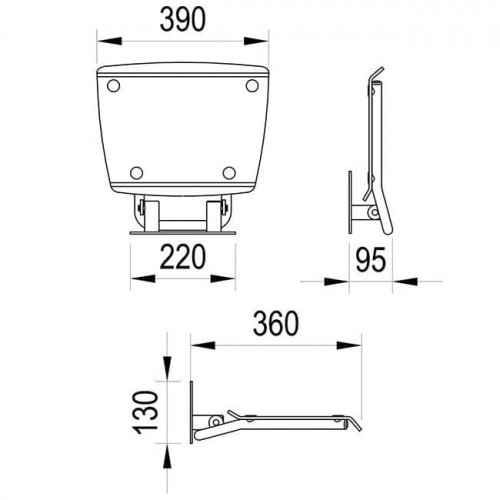 Sprchové sedátko Ravak OVO B Decor II Blueline, nerez/průsvitně bílá preview