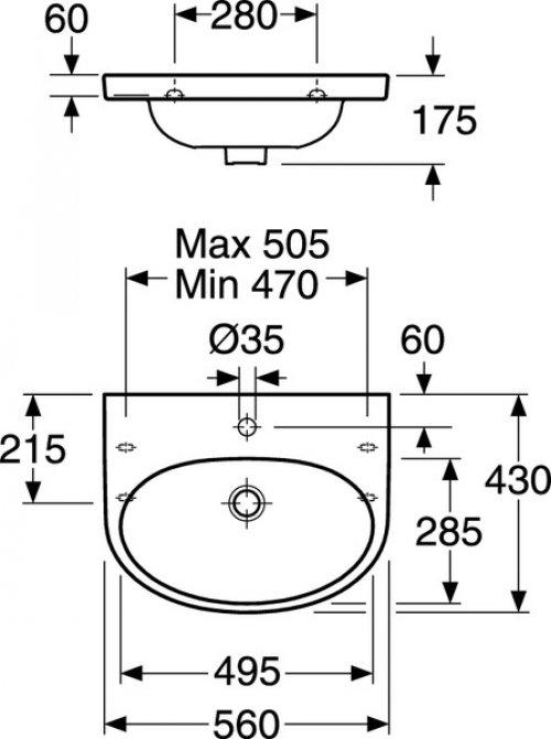 Umyvadlo 56cm Gustavsberg NAUTIC56, bílá EasyPLUS glazura preview