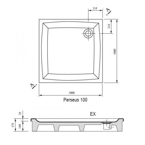 Sprchová vanička PERSEUS-100 EX Ravak GALAXY, bílá preview