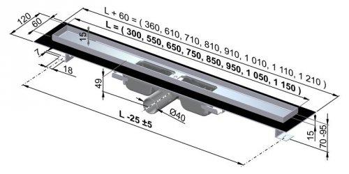APZ101-950 Podlahový nerezový žlab snížený AlcaPlast s okrajem preview