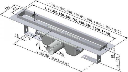 APZ6-300 podlahový nerezový žlab AlcaPlast MINI s okrajem preview
