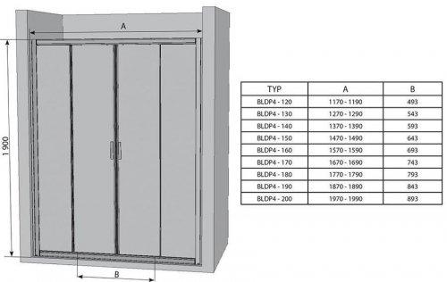 Sprchové dveře posuvné čtyřdílné BLDP4-150 Grape Ravak BLIX, satin preview