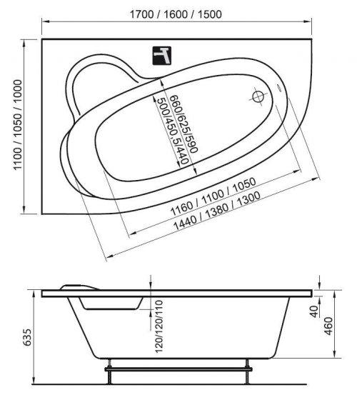Vana ASYMMETRIC 150 x 100 R Ravak pravá, bílá preview