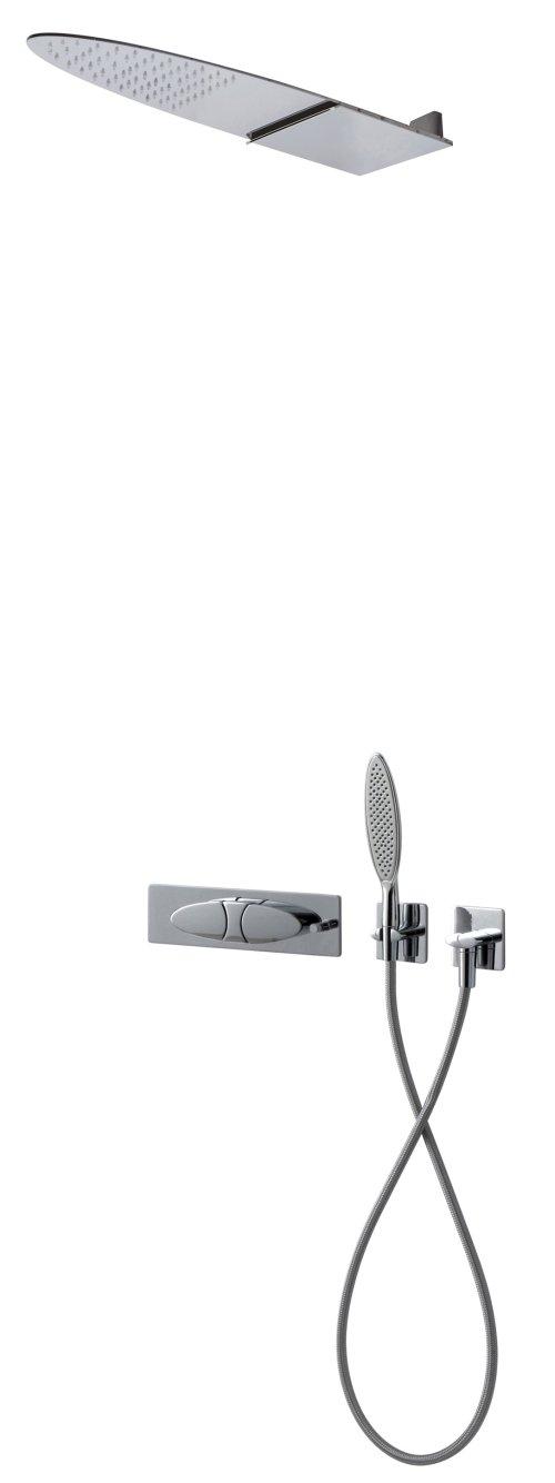 Nástěnná podomítková baterie se sprchovou hlavicí rainfall a ruční sprchou ECLIPSE, FIMA, chrom