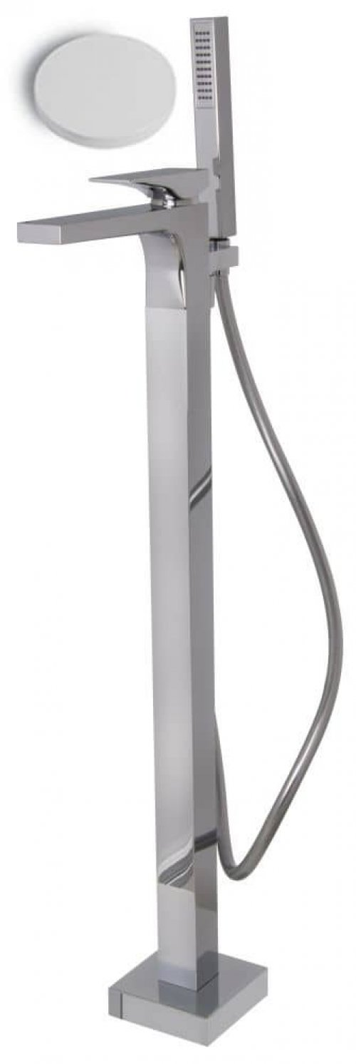Vanová baterie na podlahu Fima ZETA, sprchový set, bílá mat