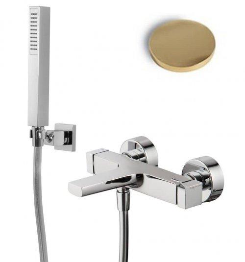 Vanová nástěnná baterie Fima ZETA, sprchový set, zlatá