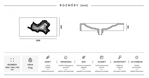 Gravelli umyvadlo MAP šedá 120x60x10cm preview