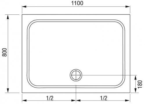 Sprchová vanička obdélníková GIGANT PRO 110 x 80 Ravak CHROME, bílá preview