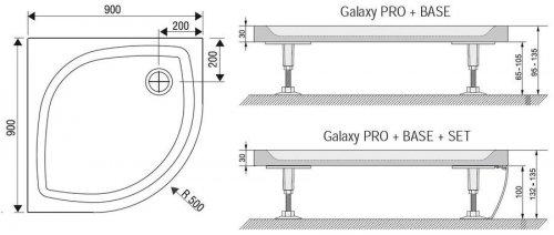 Sprchová vanička litá ELIPSO PRO-90 Flat Ravak Galaxy Pro, bílá preview
