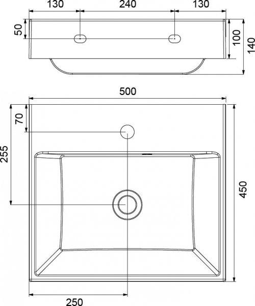 Umyvadlo 50 x 45 cm Ravak NATURAL 500, bez přepadu, bílá preview